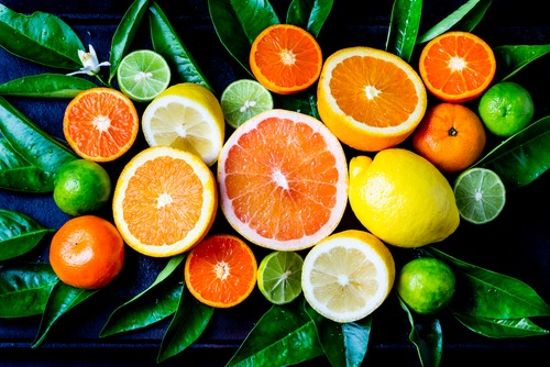 Sliced oranges containing high amount cannabis terpene limonene