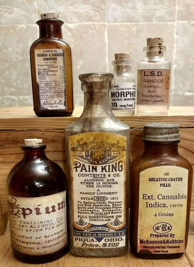 A collection of medicines containing cannabis from the turn of the 19th century at Coffeeshop Guru