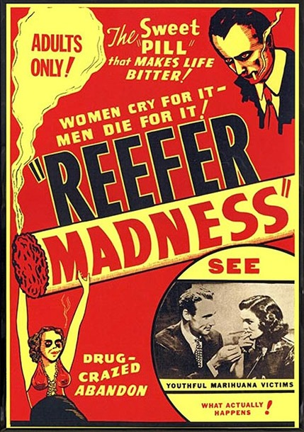 "A poster of the 1936 motion picture ""Reefer Madness"" at Coffeeshop Guru"