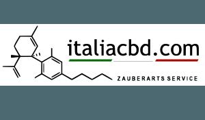 logo of italiacbd.com with italian flag